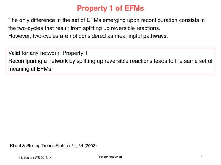 Property 1 of EFMs