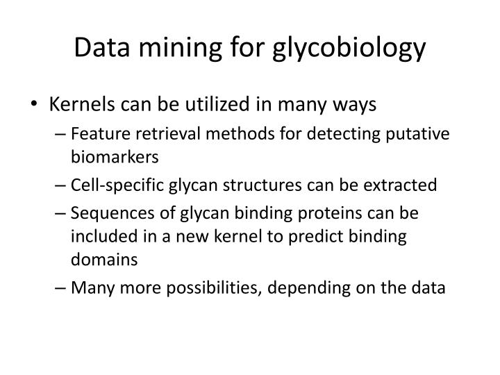Data mining for glycobiology