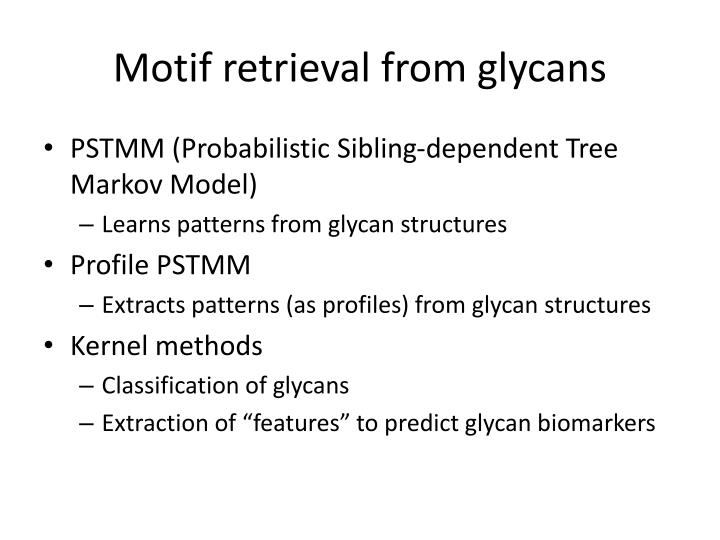 Motif retrieval from glycans