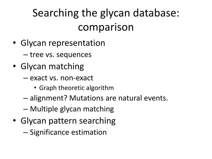 Searching the glycan database: comparison
