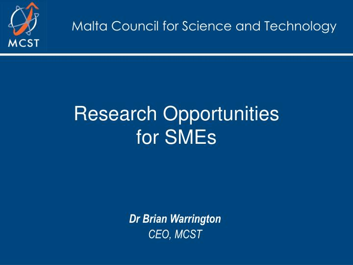 research opportunities for smes n.