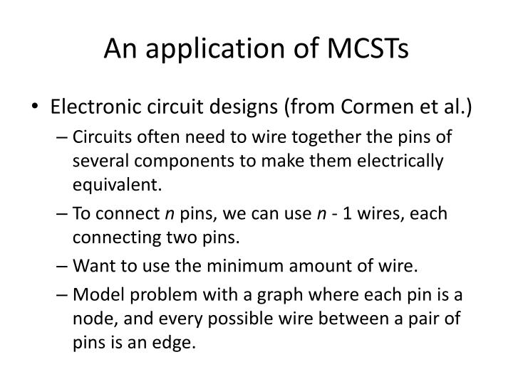 An application of MCSTs