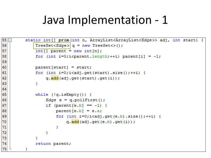 Java Implementation - 1