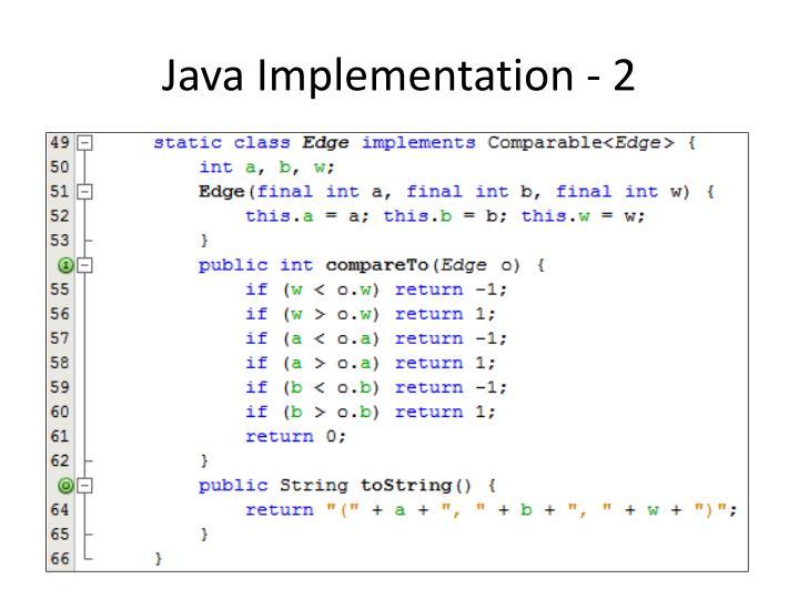 Java Implementation - 2