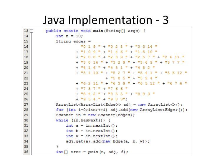 Java Implementation - 3