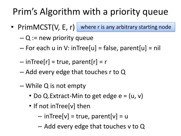 Prim's Algorithm with a priority queue
