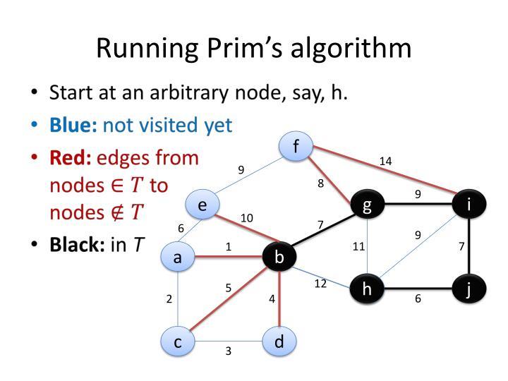 Running Prim's algorithm