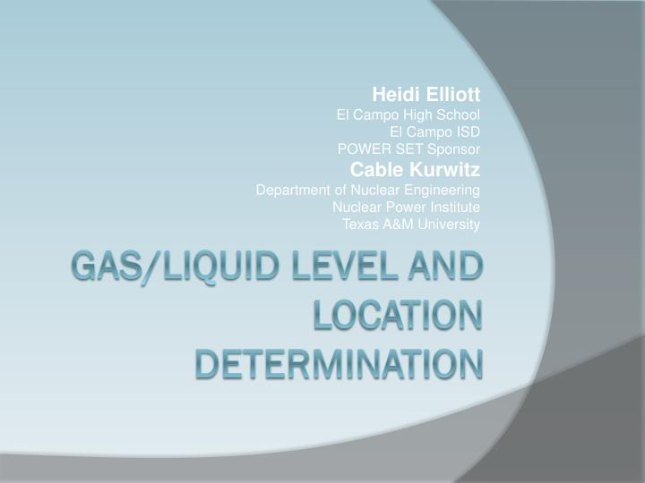 gas liquid level and location determination