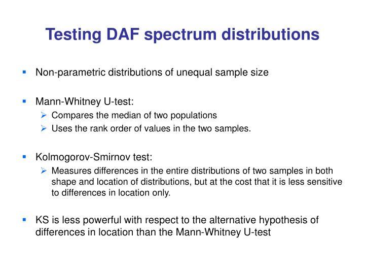 Testing DAF spectrum distributions