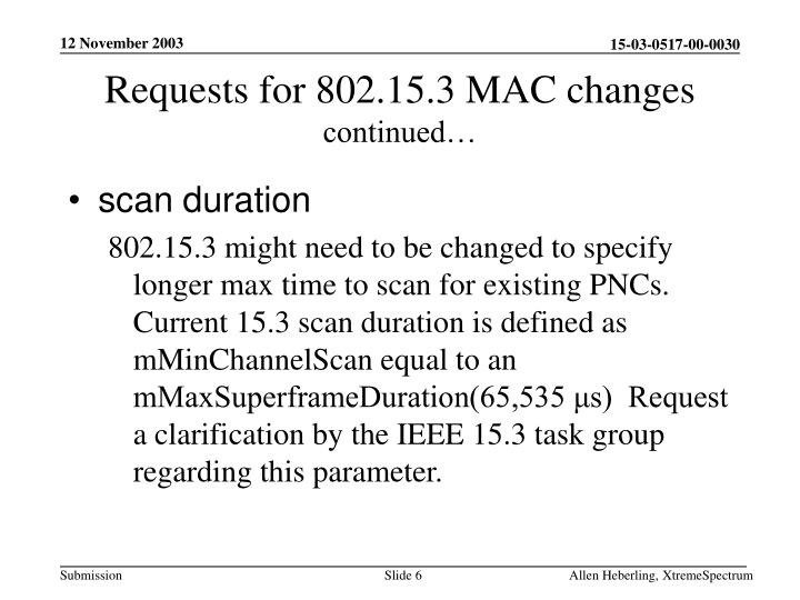Requests for 802.15.3 MAC changes
