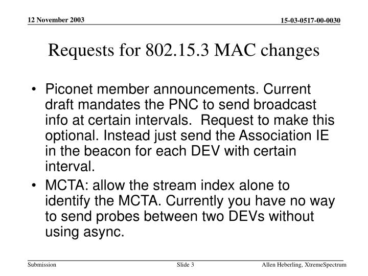 Requests for 802 15 3 mac changes