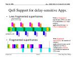 qos support for delay sensitive apps