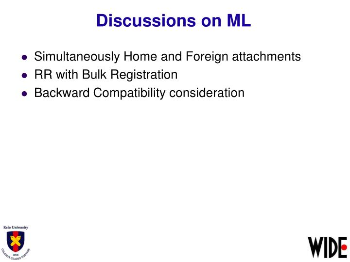 Discussions on ML