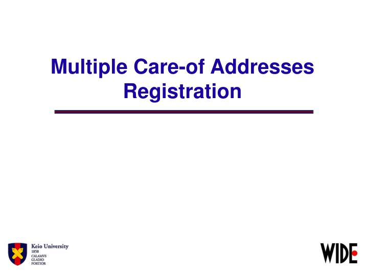 Multiple Care-of Addresses