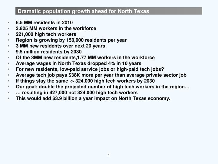 Dramatic population growth ahead for north texas