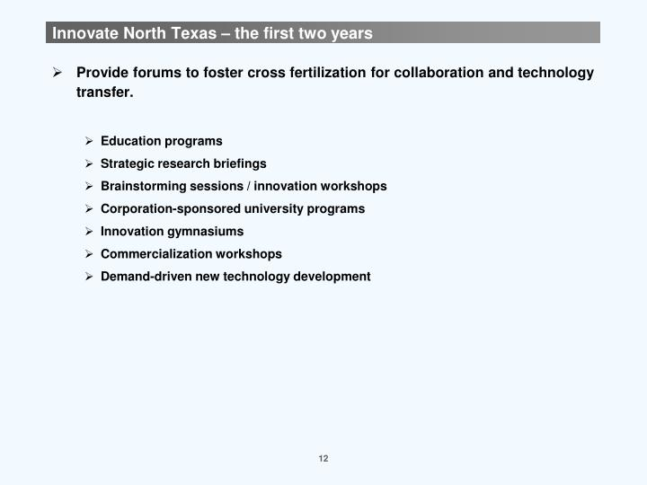 Innovate North Texas – the first two years