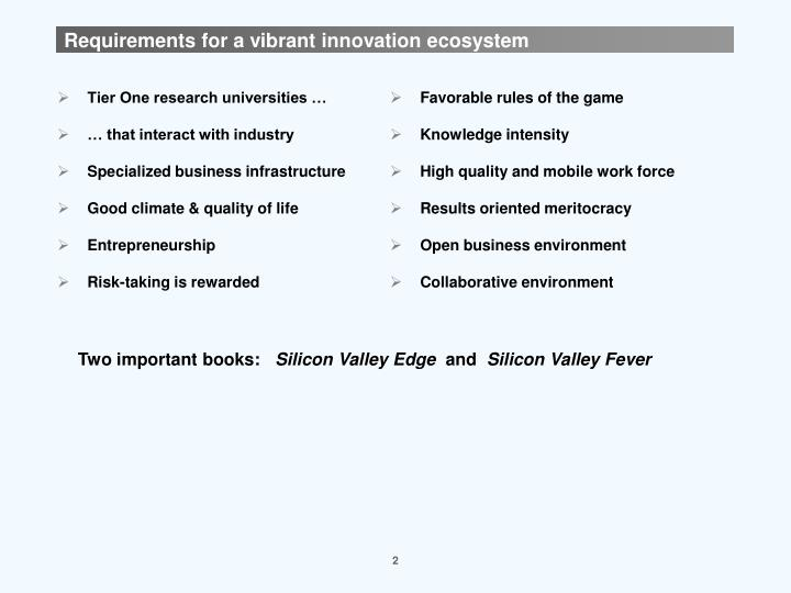 Requirements for a vibrant innovation ecosystem