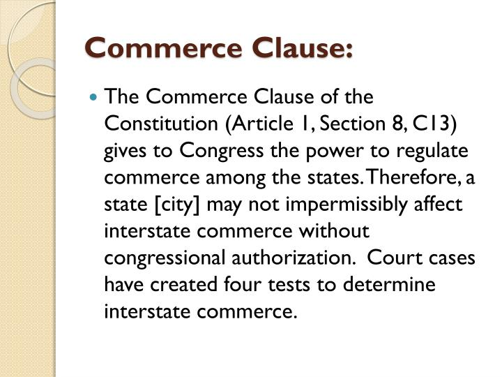 Commerce Clause: