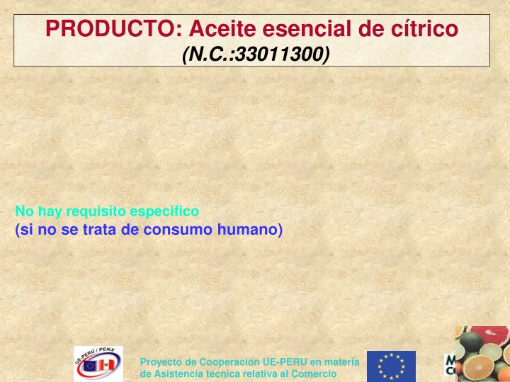 PRODUCTO: Aceite esencial de cítrico