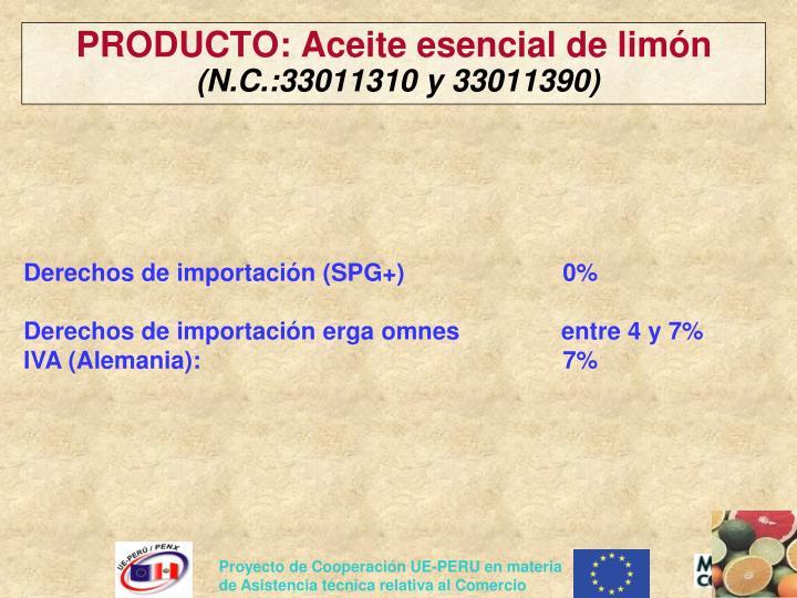 PRODUCTO: Aceite esencial de limón