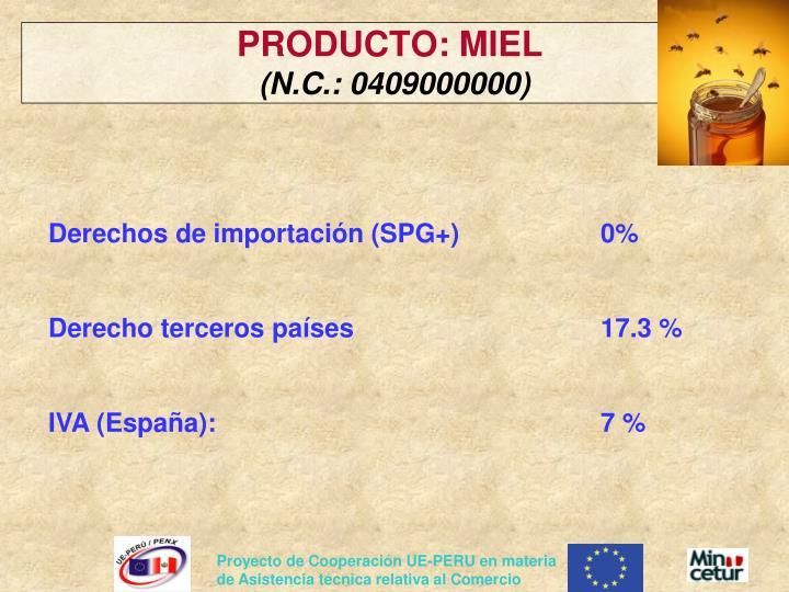 PRODUCTO: MIEL