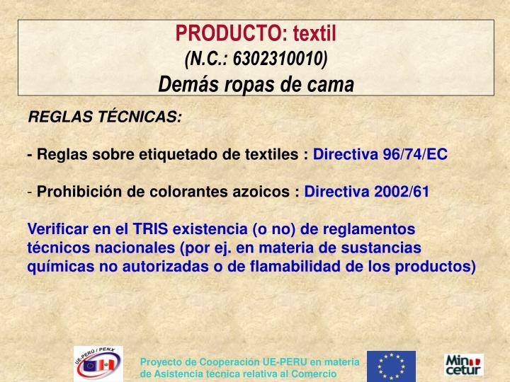 PRODUCTO: textil