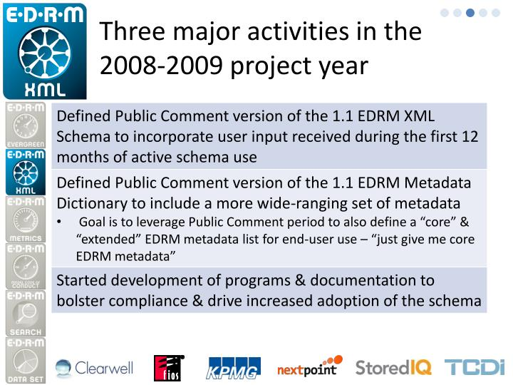 Three major activities in the 2008-2009 project year