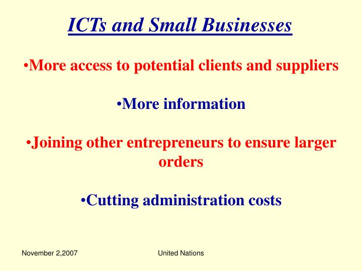 ICTs and Small Businesses
