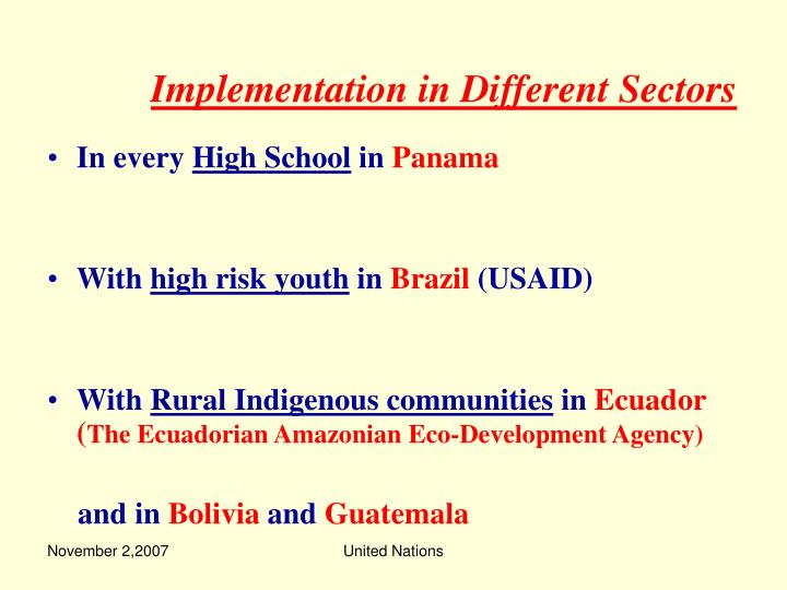 Implementation in Different Sectors