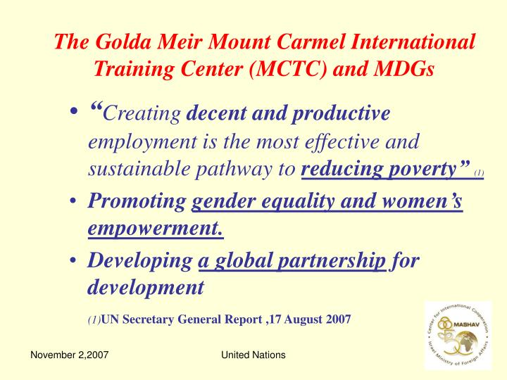 The Golda Meir Mount Carmel International Training Center (MCTC) and MDGs