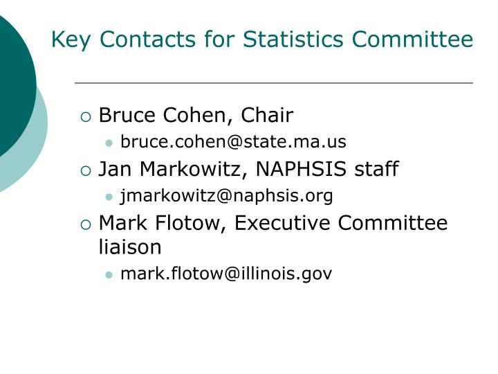 Key Contacts for Statistics Committee