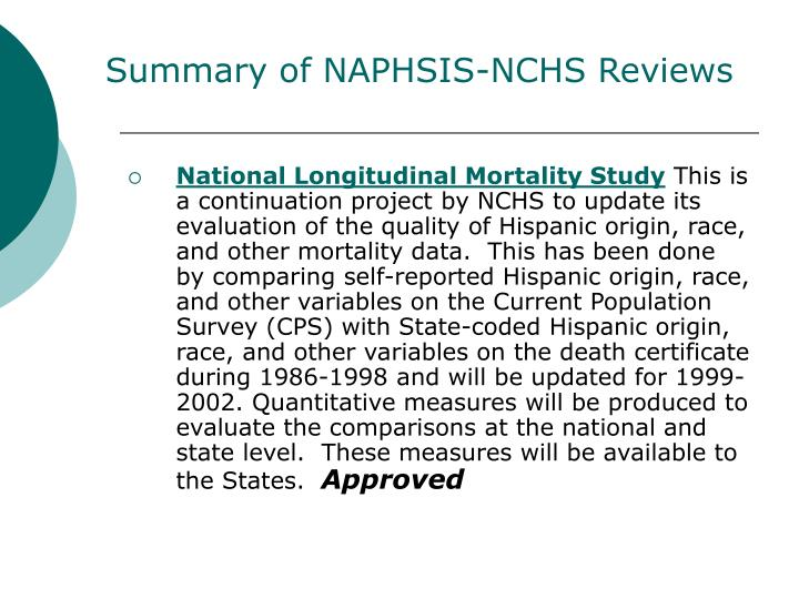 Summary of NAPHSIS-NCHS Reviews