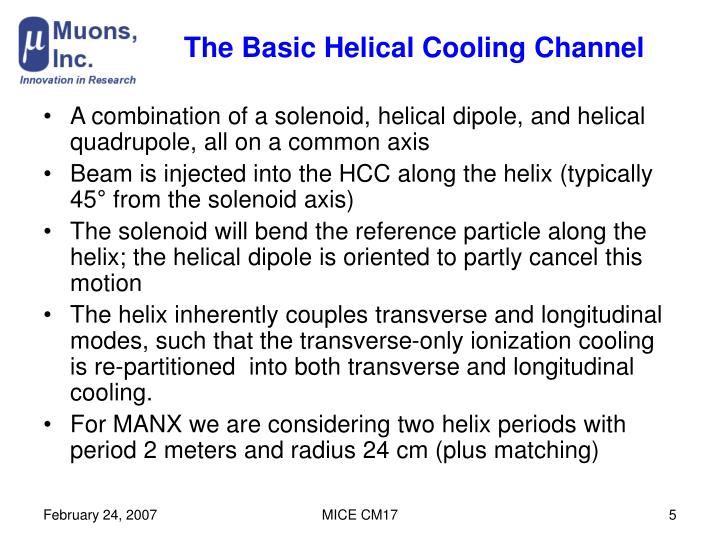 The Basic Helical Cooling Channel