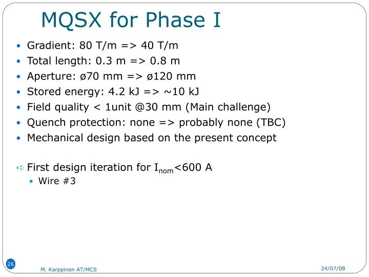MQSX for Phase I