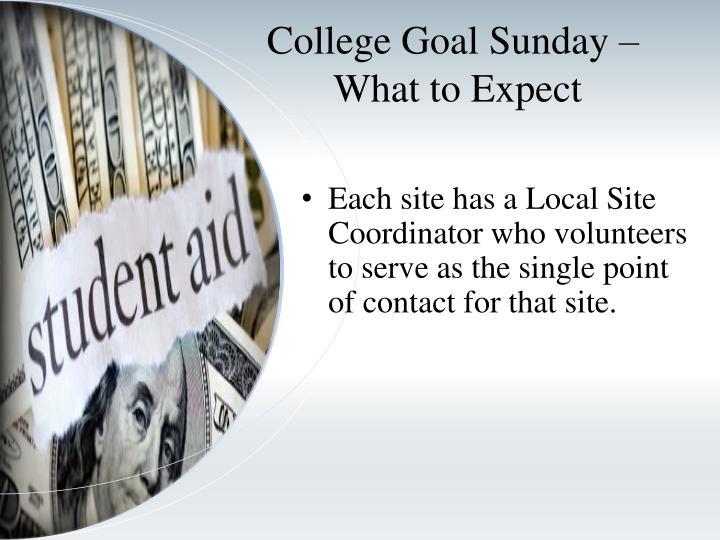 College Goal Sunday –
