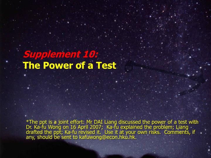 supplement 10 t he power of a test