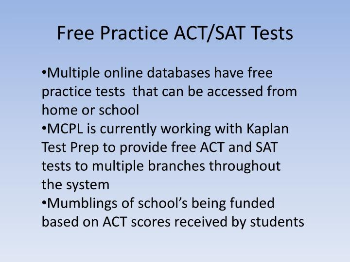 Free Practice ACT/SAT Tests