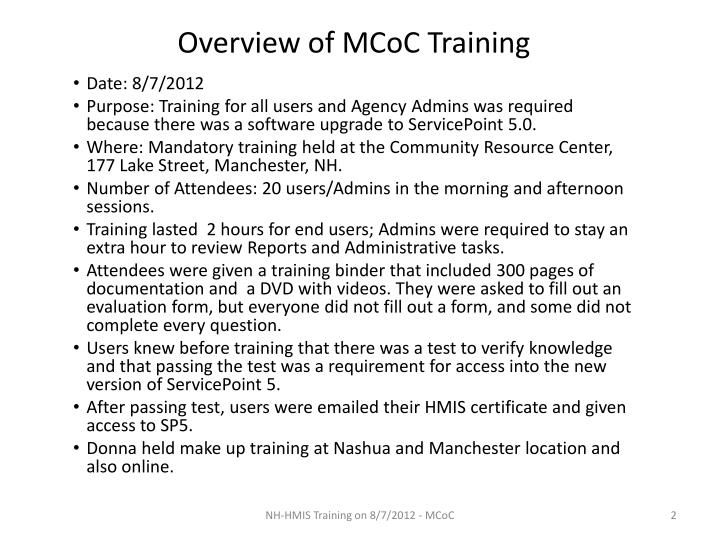 Overview of mcoc training