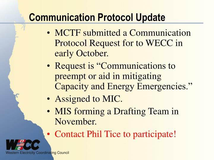 Communication Protocol Update