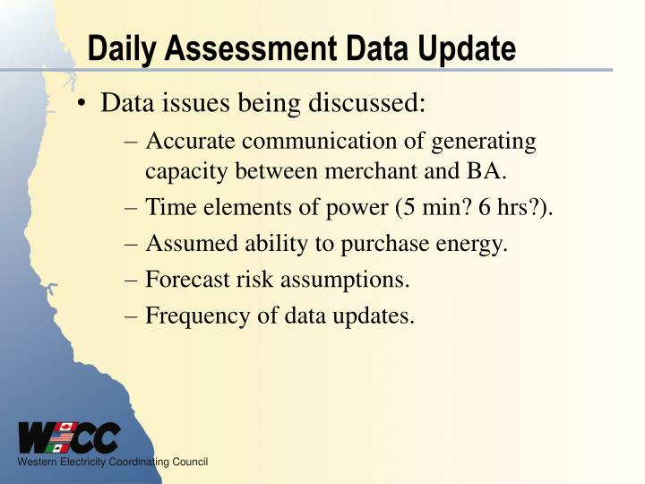 Daily Assessment Data Update