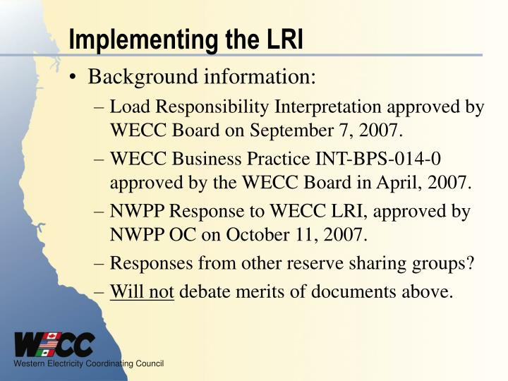 Implementing the LRI