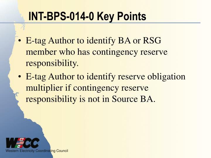 INT-BPS-014-0 Key Points