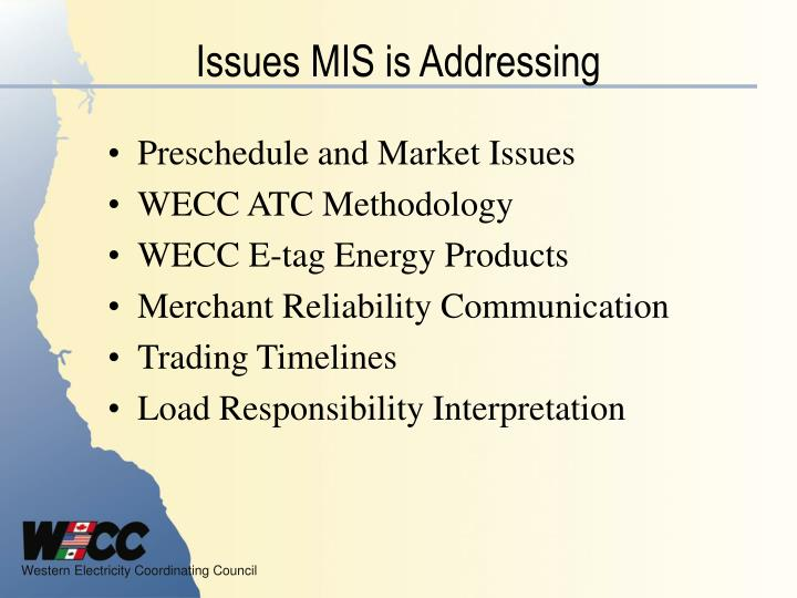 Issues mis is addressing