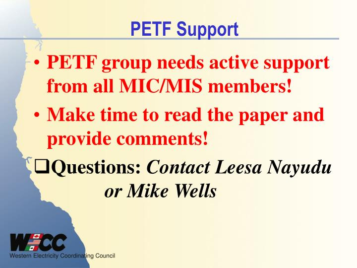 PETF Support