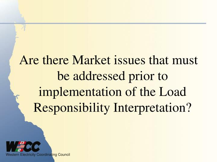 Are there Market issues that must be addressed prior to implementation of the Load Responsibility Interpretation?