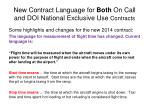 new contract language for both on call and doi national exclusive use contracts