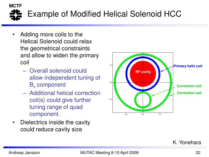 Example of Modified Helical Solenoid HCC