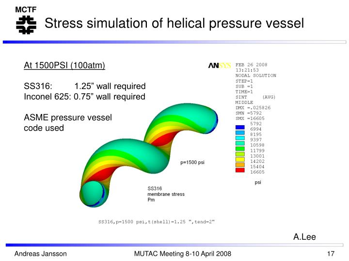 Stress simulation of helical pressure vessel
