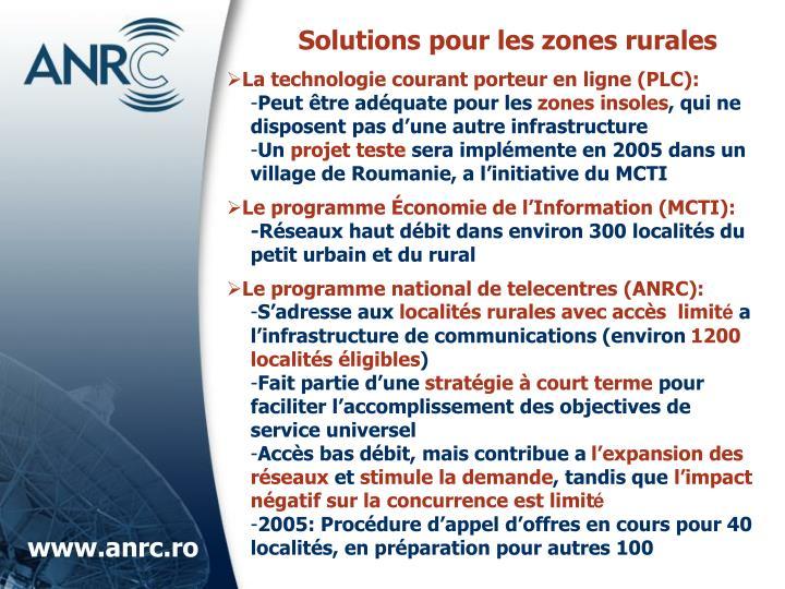 Solutions pour les zones rurales