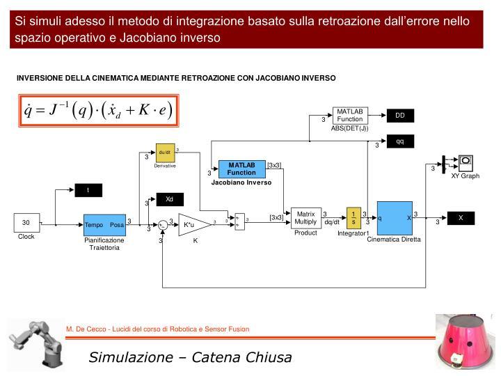 Si simuli adesso il metodo di integrazione basato sulla retroazione dall'errore nello spazio operativo e Jacobiano inverso